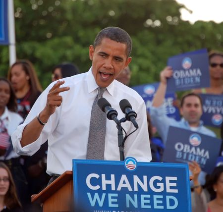 overflow: Barack Obama speaking to an overflow crowd of over thirty thousand supporters during a rally held at Bayfront Park in Miami,Florida in 22 October 2008