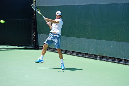 nadal: rafeal nadal during hitting practice prior to a match at the sony-ericson tennis championships on key biscayne in 2010 Editorial