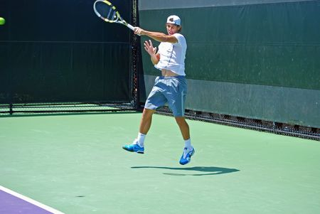 nadal: rafael nadal during hitting practice prior to a match at the Sony-Ericson Tennis Championships in March 2010