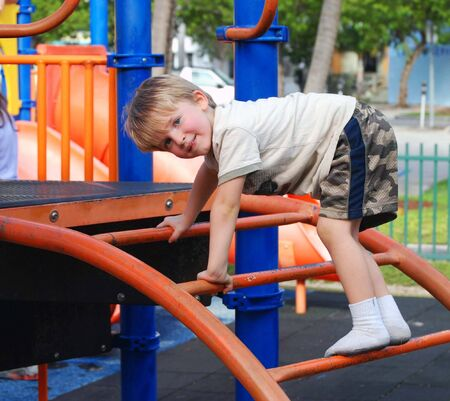 Little Boy Climbing a Playground Ladder