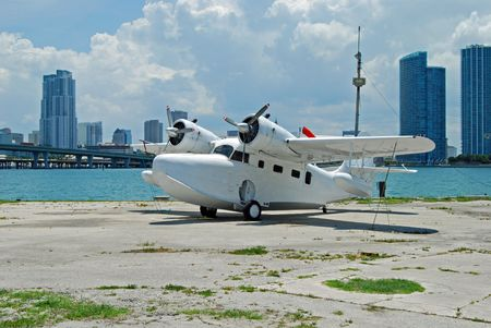 amphibius: White Seaplane on Watson Island in the Port of Miami Stock Photo