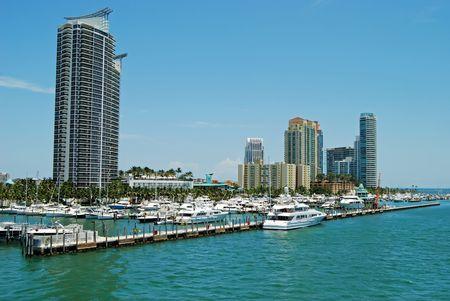 condos: Miami Beach Marina and Condo Development Stock Photo