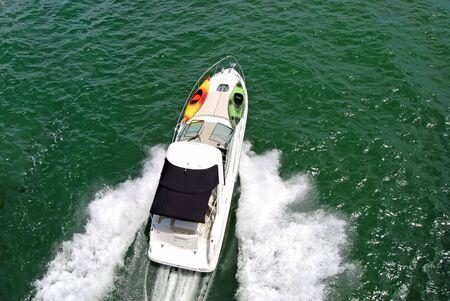 Small Motor Yacht on the Florida Intercoastal Waterway Stok Fotoğraf