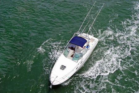 intercoastal: Fishing Boat on the Florida Intercoastal Overhead View