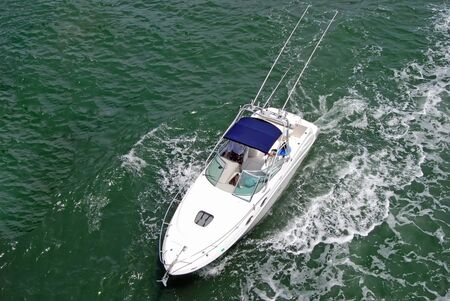 Overhead view of a sportsfishing boat on biscayne bay near miami beach,florida