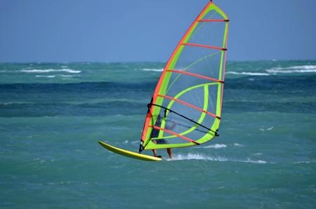 windsurf: Sailboarder surf fuera de Virginia Key windsurf un lugar popular en el sudeste de Florida