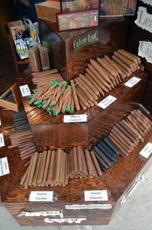 key west: An assortment of cigars rolled with cuban leaf on display in a kiosk in key west ,florida Editorial