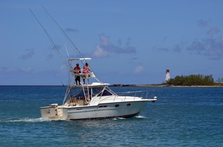 cruising: Nassau based charter sports fishing boat cruising in the Bahamas  Editorial