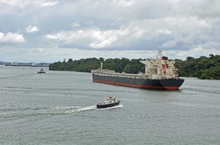 Tanker on Gatun Lake awaiting transit