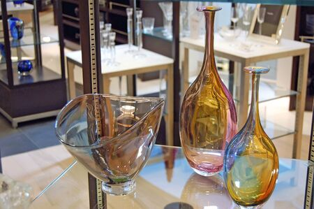 Collectible glassware on display at a department store