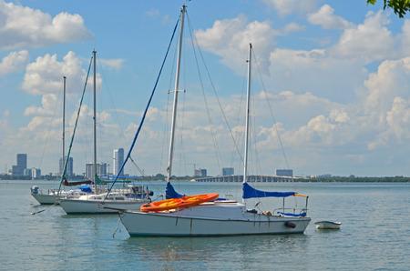 aboard: Live aboard sailboats moored just outside of a marina-condo complex in miami beach,florida
