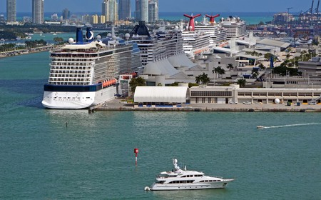 destination scenics: Cruise ships moored at the Port of Miami often called the cruise ship capitol of the world.