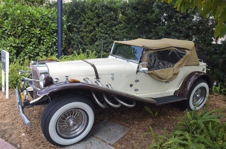 vintage sports car on display at a boutique hotel in the south beach section of miami beach,florida