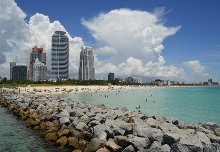 Panoramic view of luxury condominium towers overlooking the beach at south pointe park at the southernmost end of Miami Beach,Florida Stock Photo