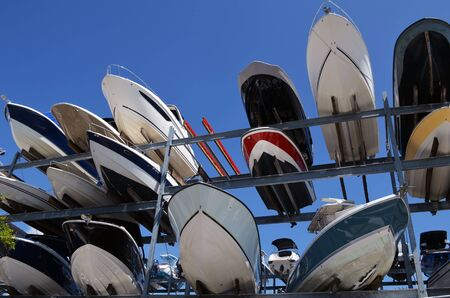 Recreational Boats in Storage at a Marina in Key Biscayne,Florida