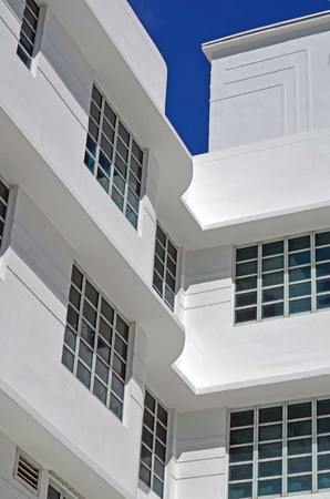 Details of Art-Deco design on the exterior of a restored building in the south beach section of Miami Beach Editorial