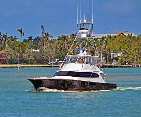 Black and white sport fishing boat on the florida intra-coastal waterway 免版税图像