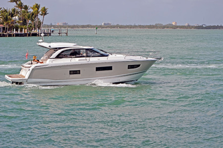 Well equipped luxury cabin cruiser on the florida intra-coastal waterway off Miami Beach.
