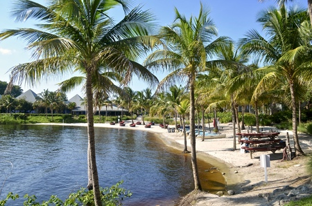 View of a private resort beach on Sandpiper Bay on the St.Lucie river in central,Florida.