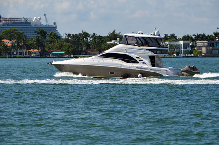 High-end cabin cruiser on the Florida Intra-coastal Waterway 写真素材