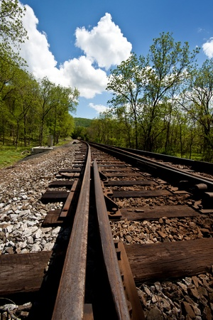 Railroad tracks running through a country setting