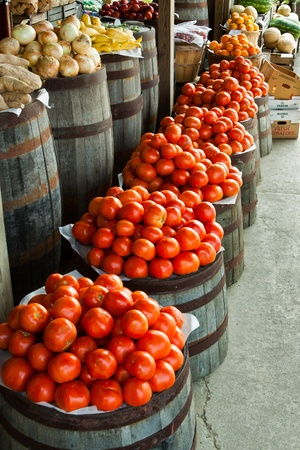Fresh vegetables in barrels at a produce stand