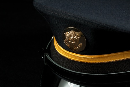 Close-up of U.S. Army military dress hat.