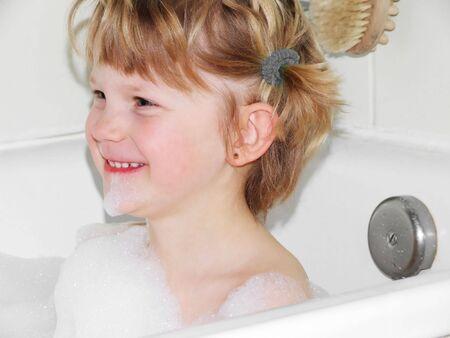 a girl in a bath Stock Photo