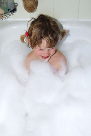 a girl in a bath Stock Photo