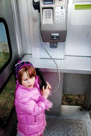 a girl makes a call Stock Photo