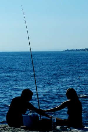 a couple on the beach Stock Photo