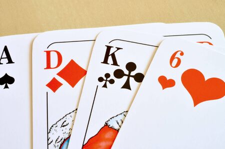 four pieces from  playing cards. each color is present