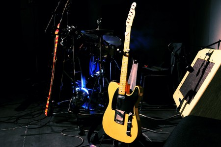 Various musical instruments on a stage Stock Photo