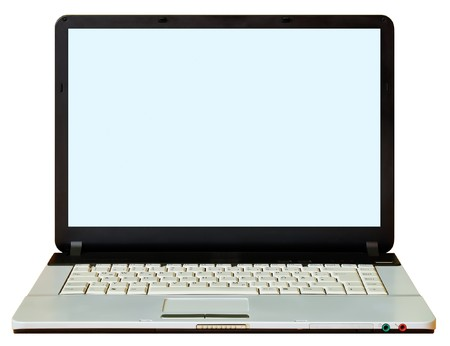 A laptop cutted out. The background is white. Stock Photo