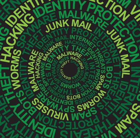 fraudster: Intrusioni nel computer sfumature di verde  Vettoriali