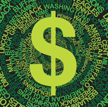 us currency: Dollar sign with US Currency background in Green