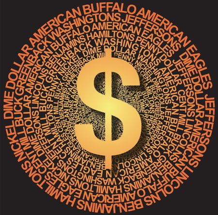 dosh: Dollar sign with US currency background