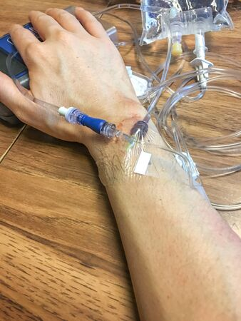 blood transfer: infusion Stock Photo
