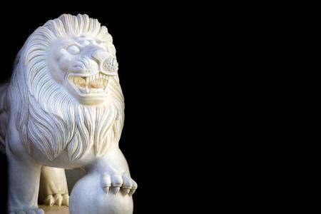 Marble Lion on Black Background.