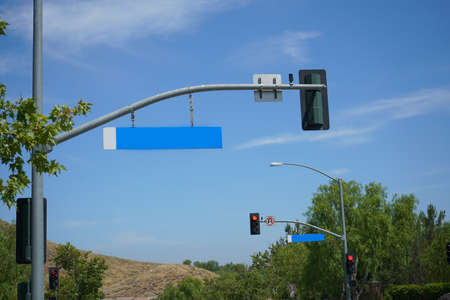 Blank Street Name Signs Hanging Street Lights Standards