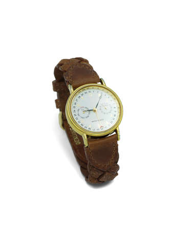 Wrist watch with brown, leather strap close-up
