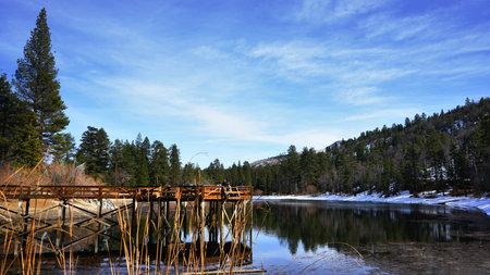 Jenks Lake Pier in the San Bernardino Forest in Winter