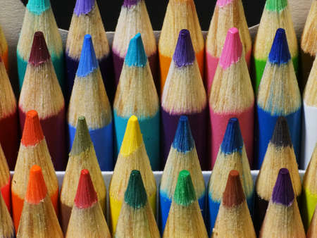 Close up of colored pencil points from the front.