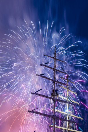 tall ship: Fireworks display during The Tall Ship Festival