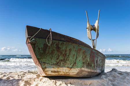 Keel boat on the seashore.