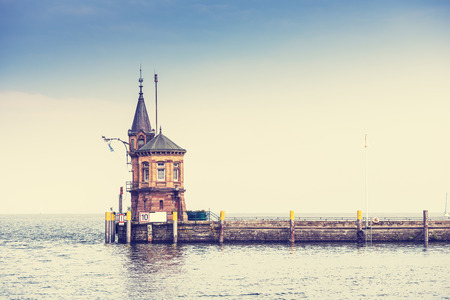 Entrance to the port of Konstanz on Lake Constance. Lighthouse. Stock Photo