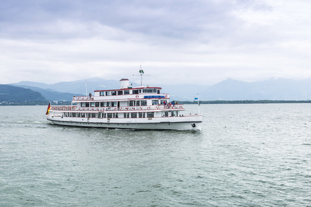 Pleasure boat sailing on Lake Constance.