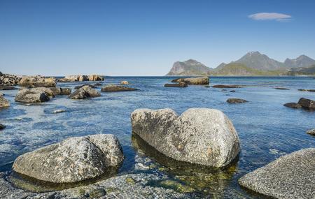 A view of the rocky beach Lofoten.