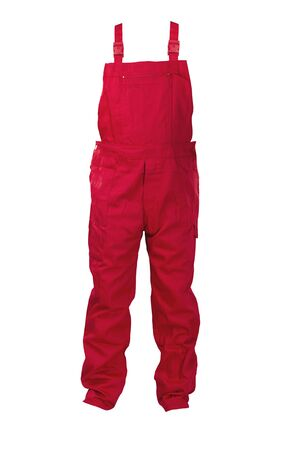 protective clothing: Red dungarees -protective clothing. Isolated on white. Stock Photo