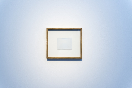 Empty Picture Frame Hung On A Large Blank Wall Stock Photo, Picture ...